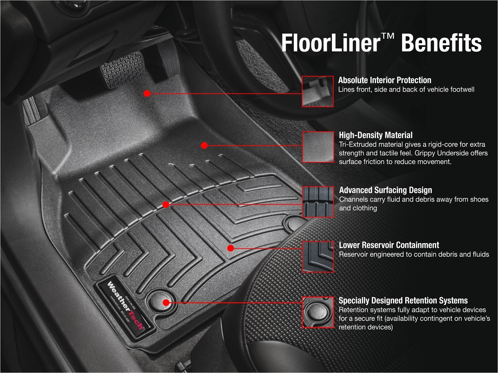 weathertech 2017 ford raptor laser measured floor mat set front and rear black