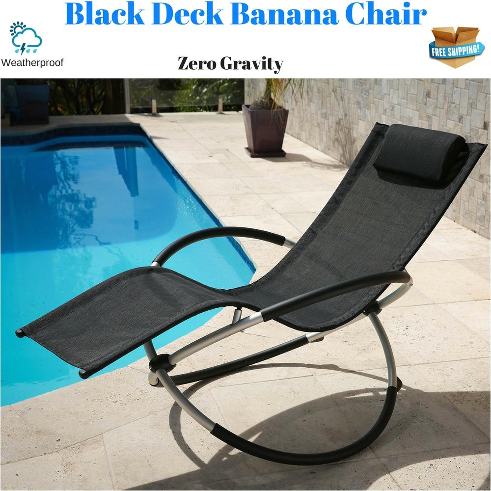 black deck banana chair sun lounger rocker chaise zero gravity beach pool seat ebay