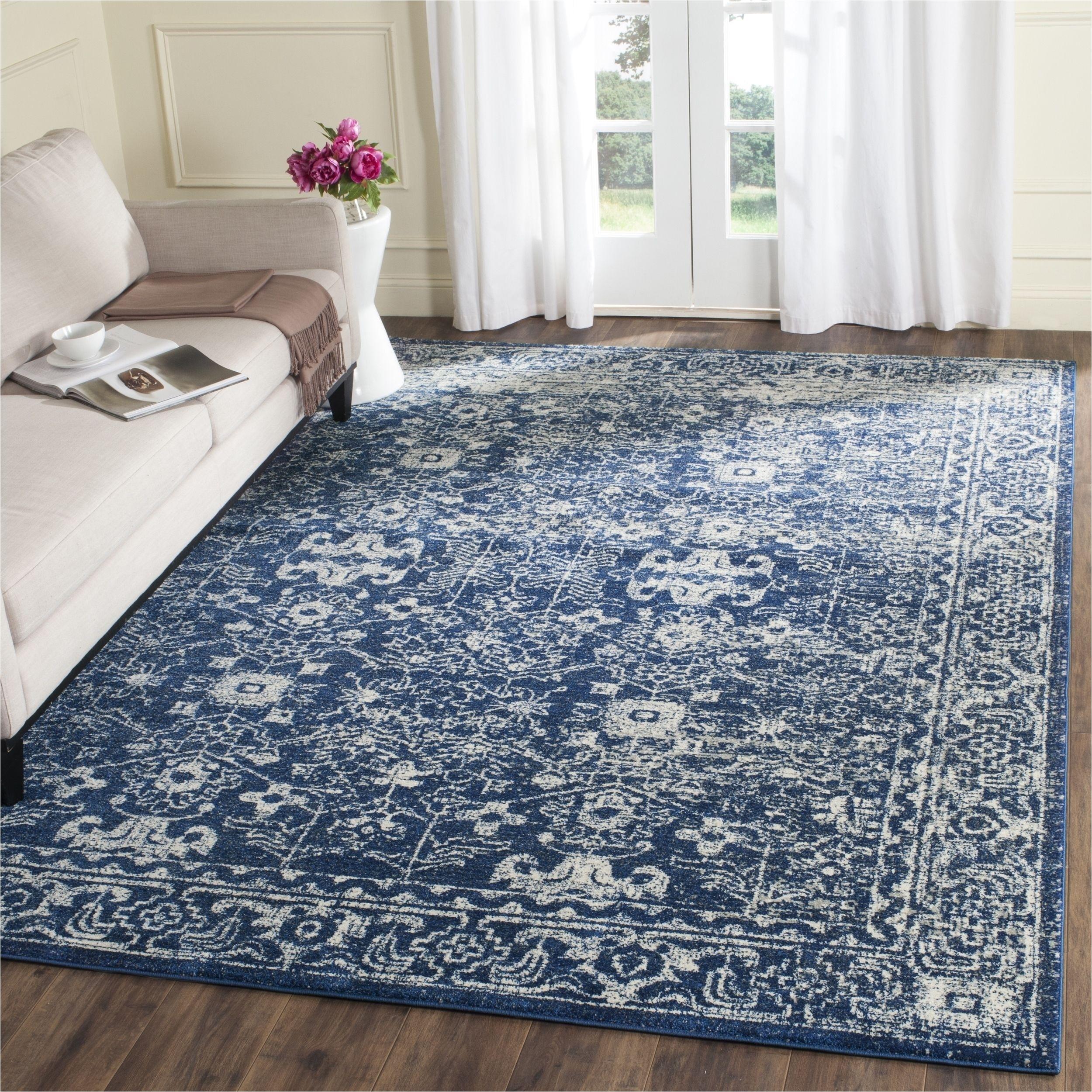safavieh evoke vintage oriental navy blue ivory distressed rug 6 7 square evk270a 7sq size 6
