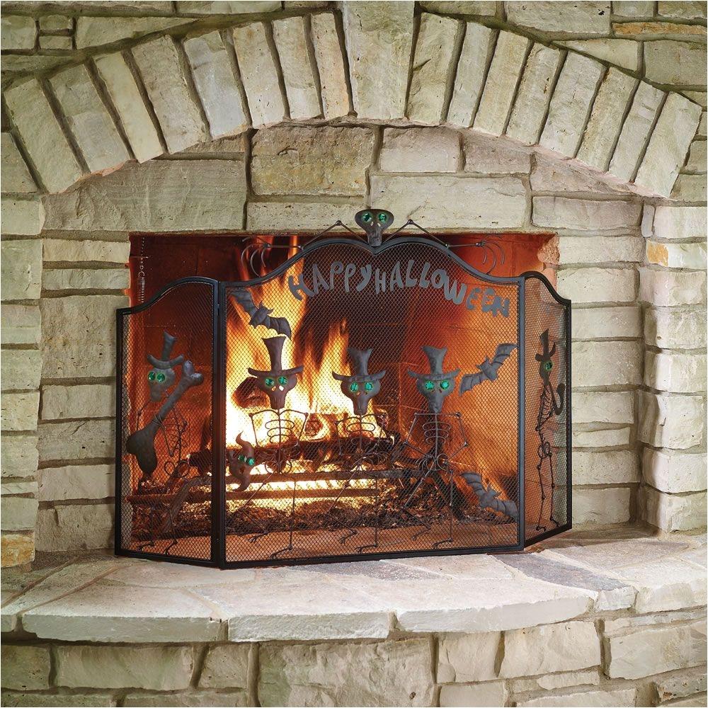 Where to Buy Fireplace Accessories Near Me the Halloween Fireplace Screen Hammacher Schlemmer Mid Summer