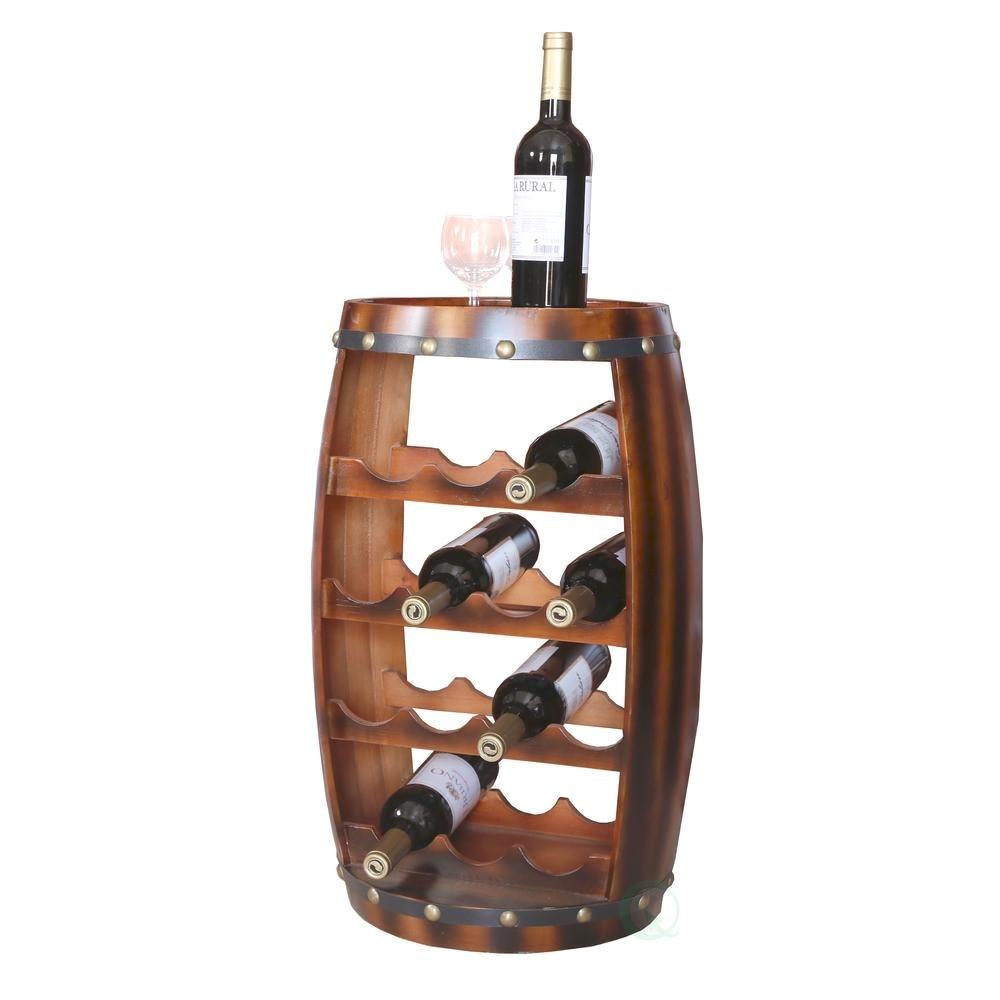 vintiquewise wooden barrel shaped 14 bottle wine rack qi003283 the home depot