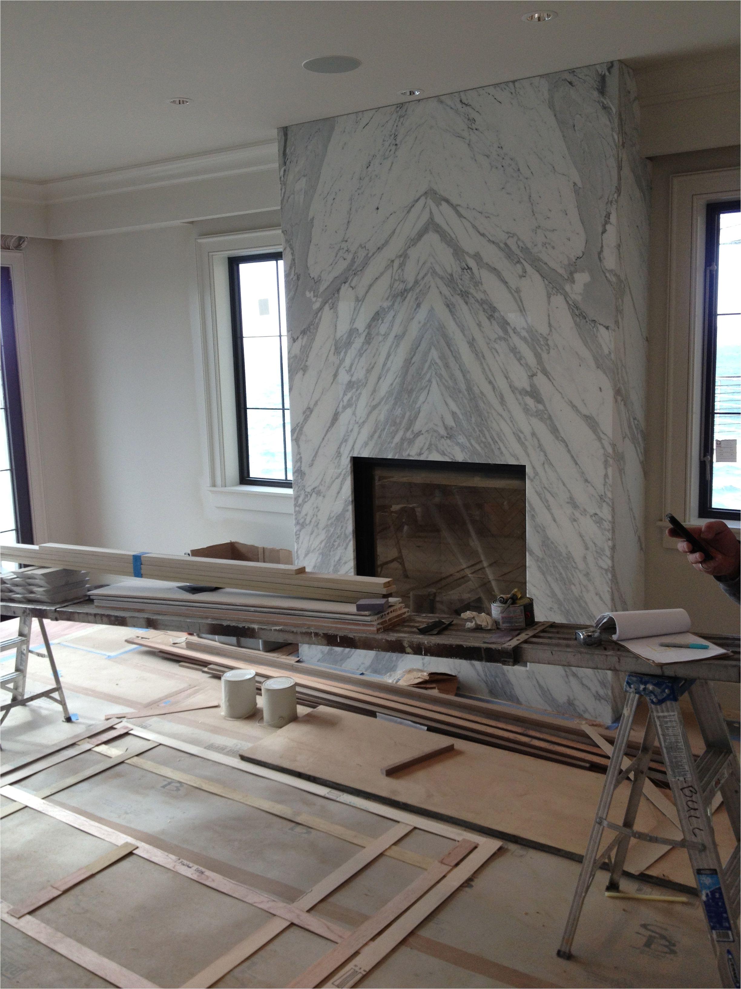 White Quartz Fireplace Surround Contemporary Slab Stone Calacutta Carrara Marble Book