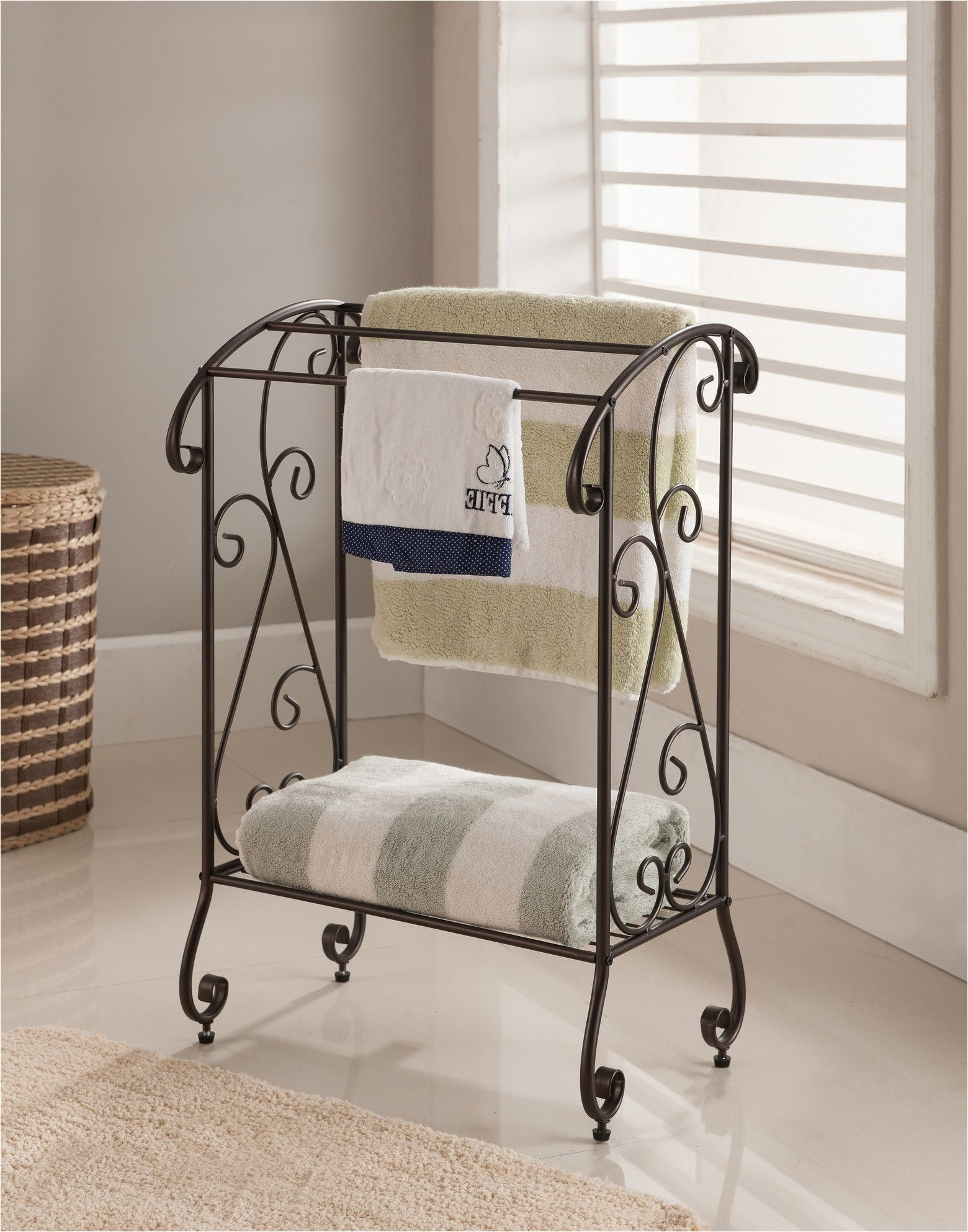pilaster designs metal free standing towel rack stand with shelf coffee brown finish