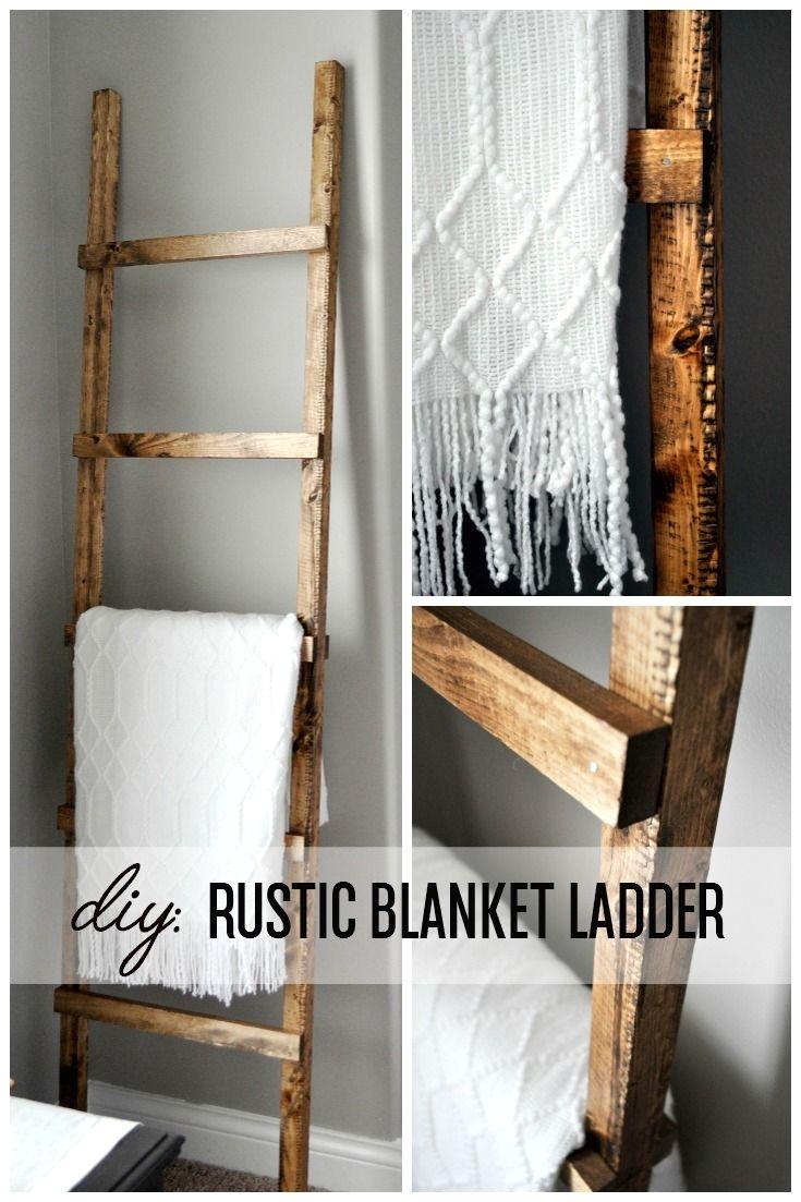 diy rustic blanket ladder www littleglassjar com