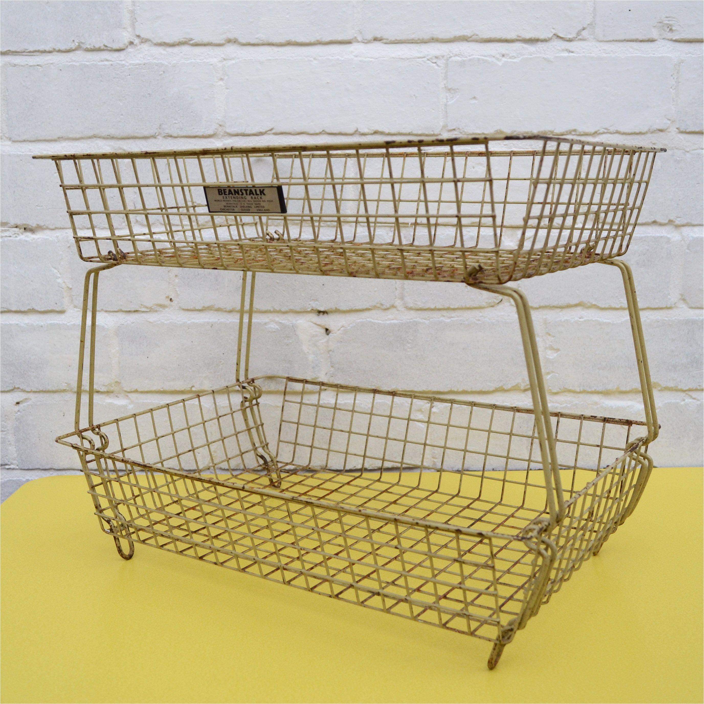 vintage beanstalk extending rack industrial wire basket rustic vegetable rack wire in trays