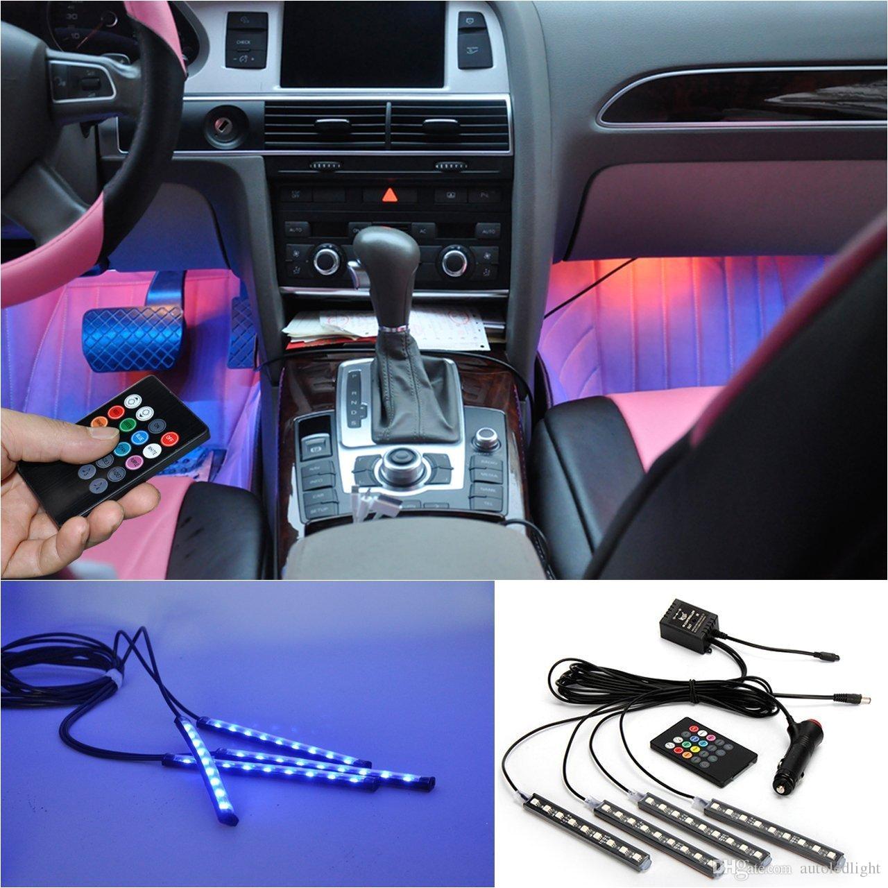 5050 9 led car interior underdash lighting kit smart sound activated control atmosphere lamp strip glow