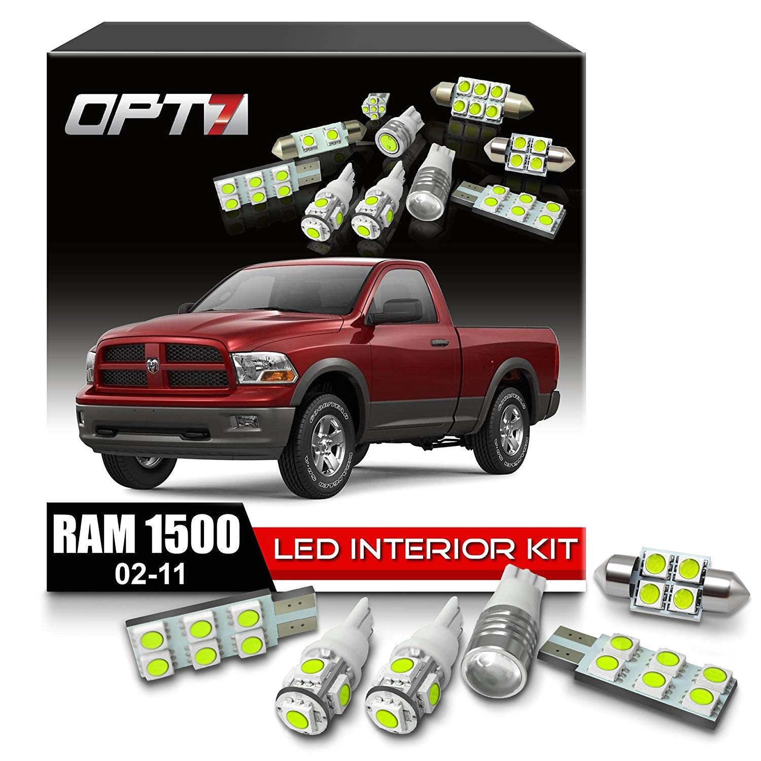amazon com opt7 10pc interior led replacement light bulbs package set kit for 02 11 dodge ram 1500 3500 6000k white dome map courtesy license plate and