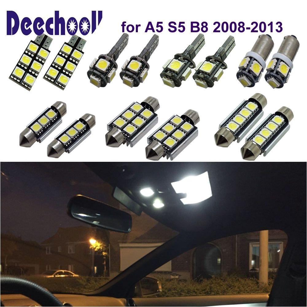 deechooll 16pcs car led light for audi a5 s5 b8 2008 2013 white interior us 17 20