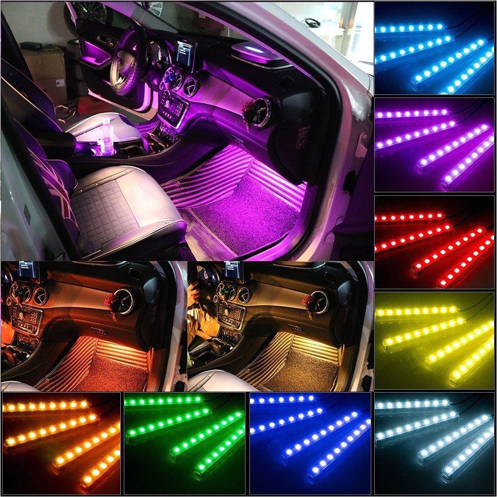 Wireless Interior Led Lights for Cars Yaphtes Car Led Strip Lights 4pcs 48 Led Multicolor with sound