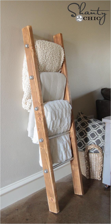 Wooden Blanket Rack Plans Diy Wood and Metal Pipe Blanket Ladder Shanty 2 Chic