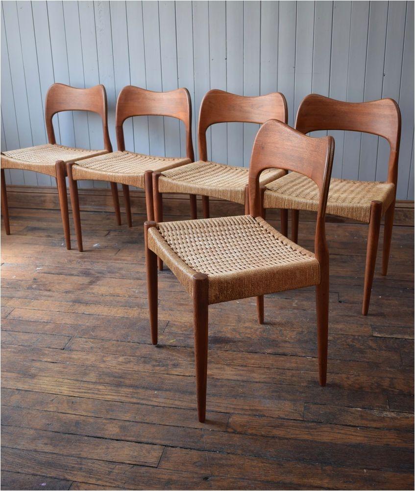 vintage arne hovmand olsen mk teak danish dining chairs original papercord x5