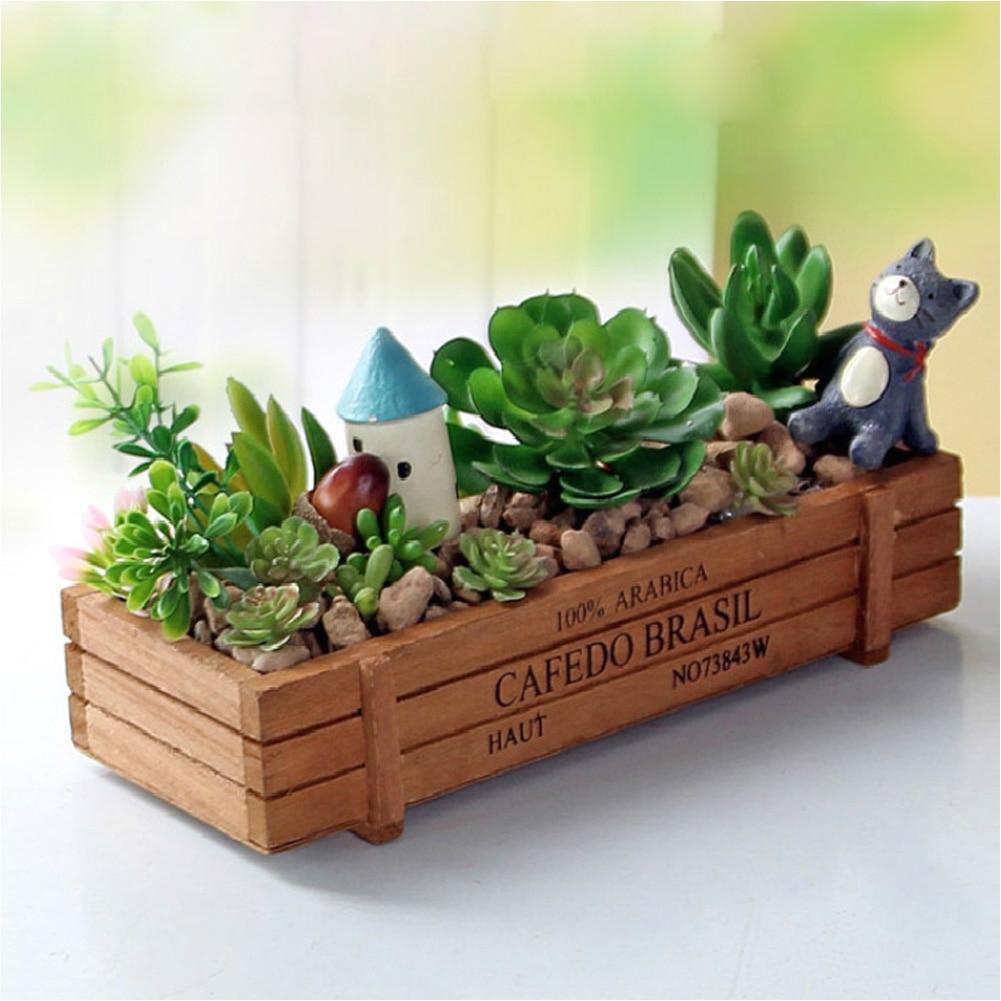 wood flowerpot garden planter plant pot window box trough pot succulent flower bed plant bed pot
