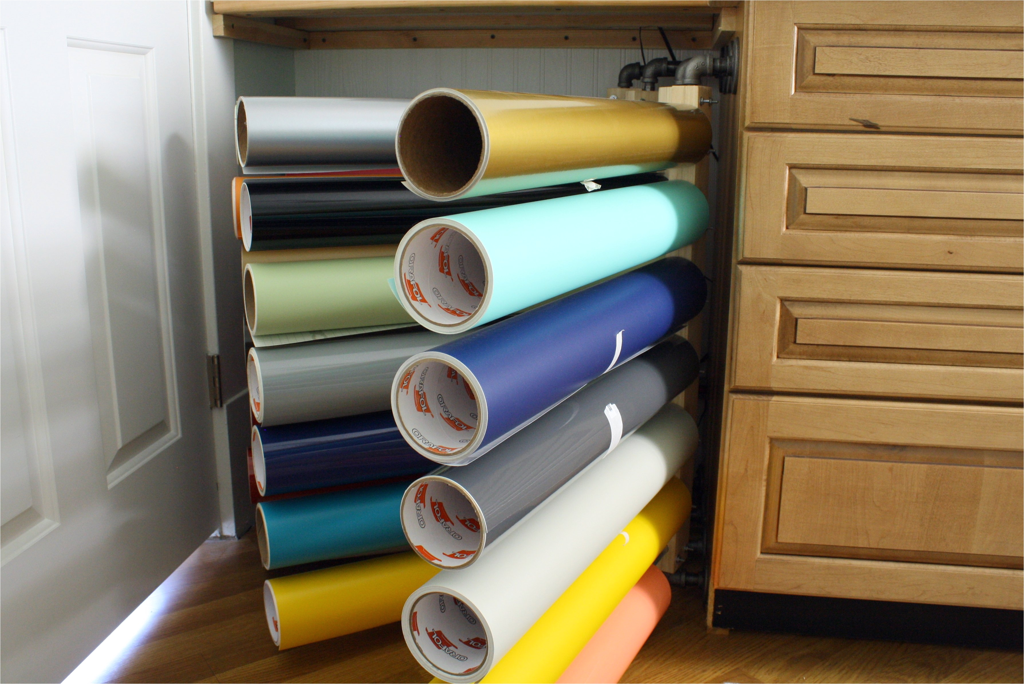 storage racks for vinyl rolls photos