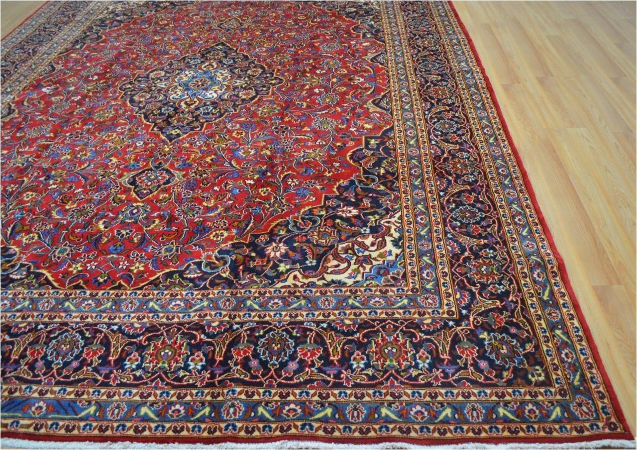 9 9x12 10 kpsi 140 authentic semi antique persian kashan handmade wool area rug