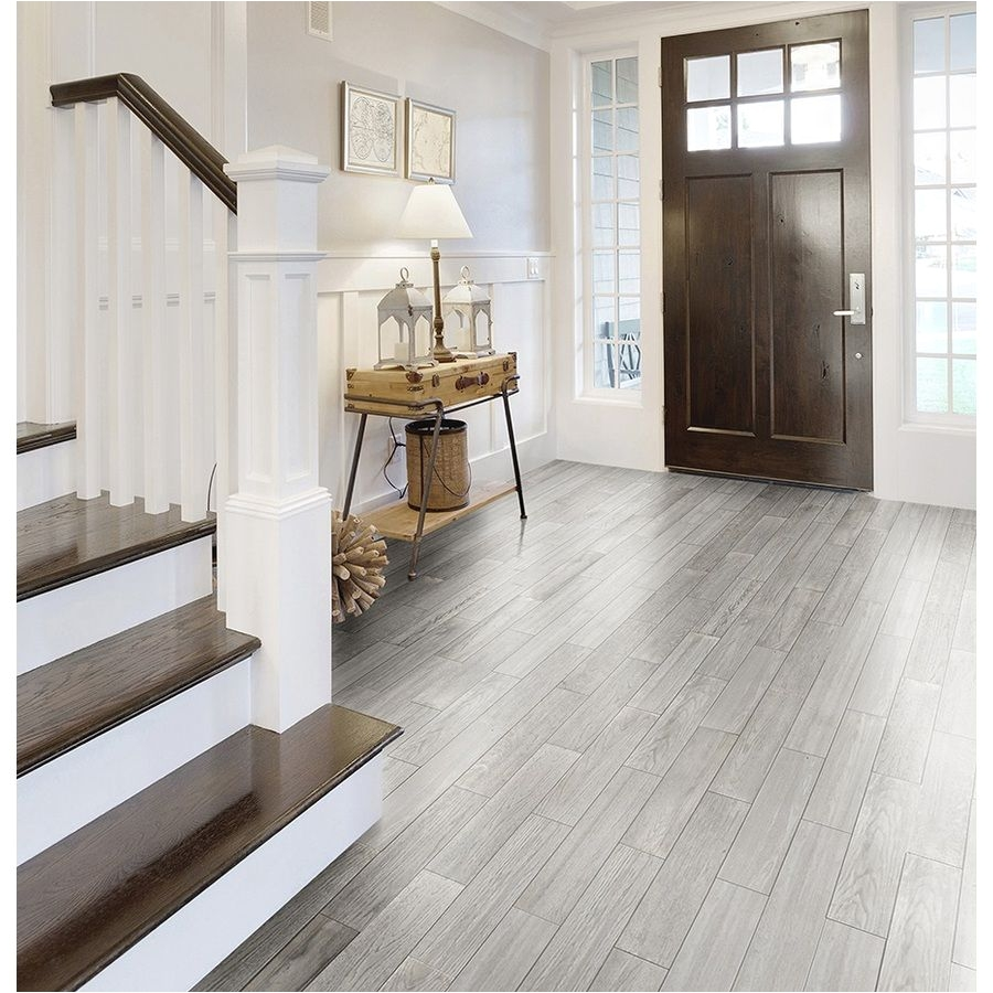style selections eldon white wood look porcelain floor tile common 6 in x 24 in actual 23 62 in x 5 79 in