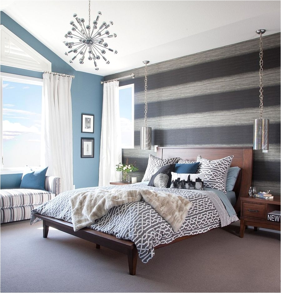 bedroom grey bedroom yellow accents accent wall wallpaper decorating purple furniture lancaster ideas red paint