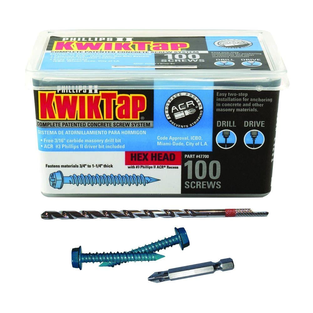 Best Concrete Floor Anchors Kwiktap 1 4 In X 4 In Hex Head Concrete Screws 100 Per Pack