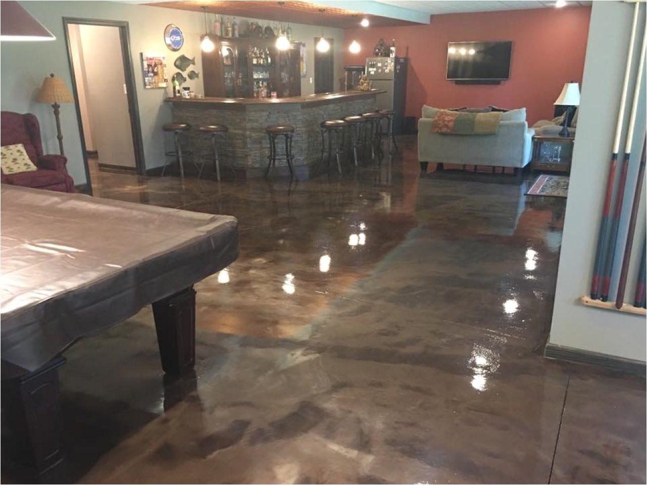 Blue Metallic Epoxy Floor Metallic Marble Epoxied Basement Floor In Peoria Illinois