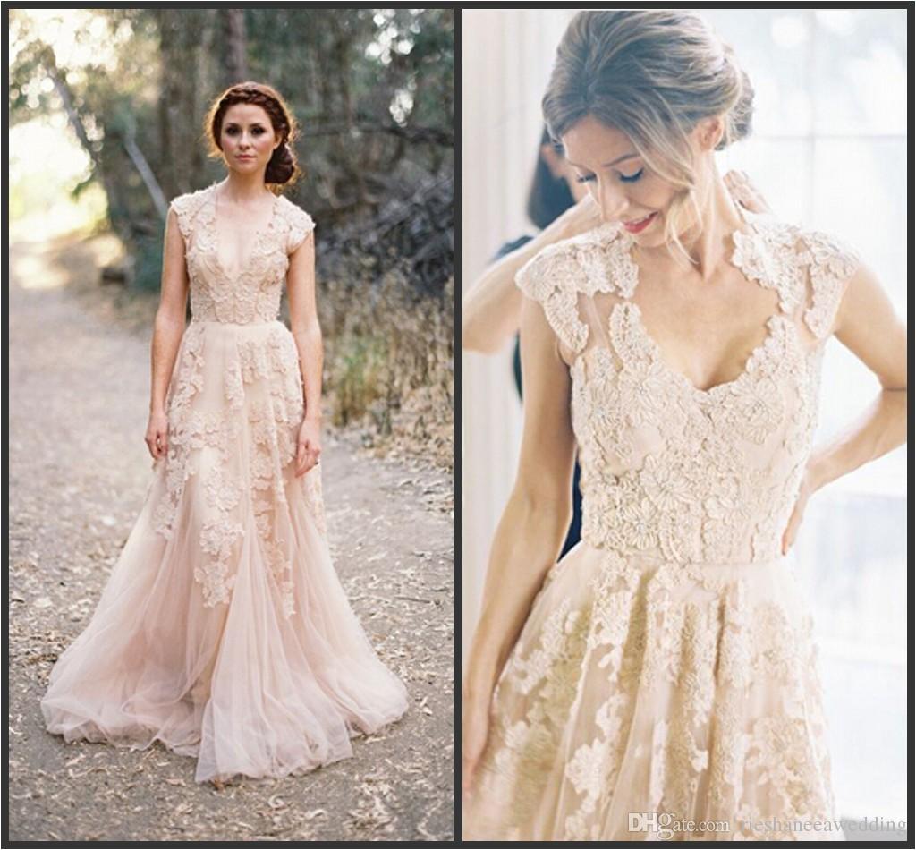Cap Sleeve Bridesmaid Dresses Floor Length Discount Bohemia Plus Size Lace Wedding Dresses Sexy Deep V Neck