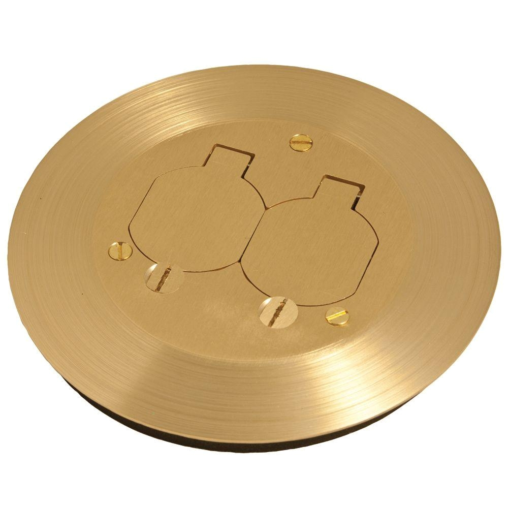 Hubbell Brass Floor Outlet Cover Raco Round Floor Box Cover Kit with Two Lift Lids for Use with