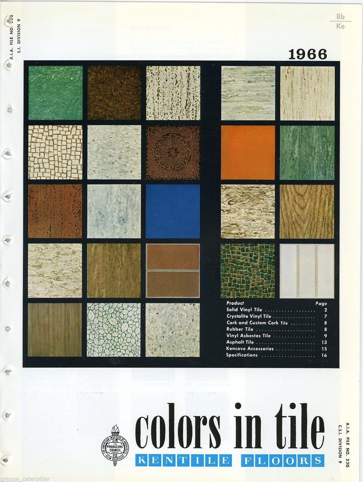 Kentile Asphalt Floor Tile 1966 Floors Asbestos Colors In Catalog Vinyl