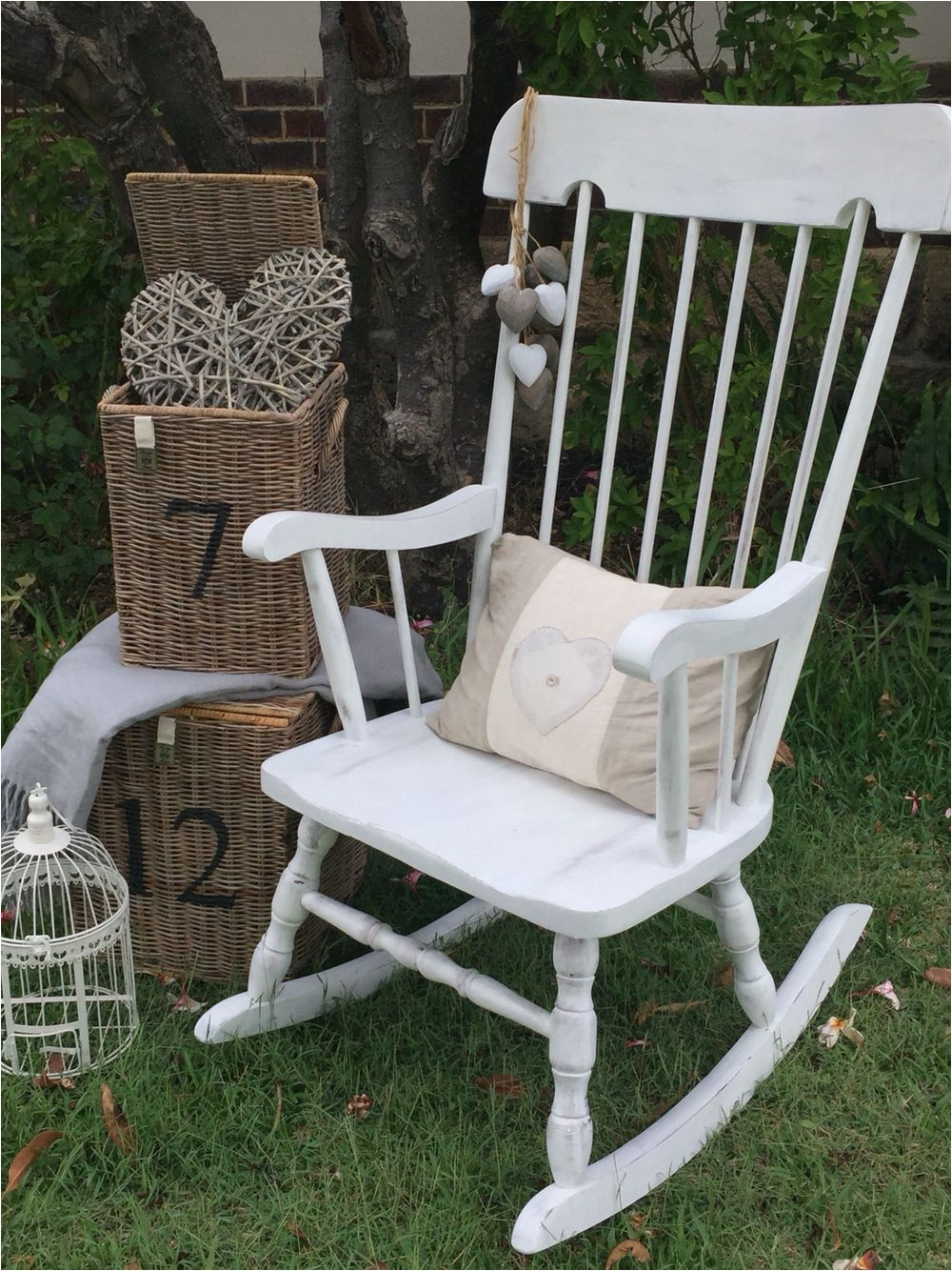 Pictures Of Antique Rocking Chairs Vintage Rocking Chair In Annie Sloan  Paloma Old White by the - Pictures Of Antique Rocking Chairs Vintage Rocking Chair In Annie