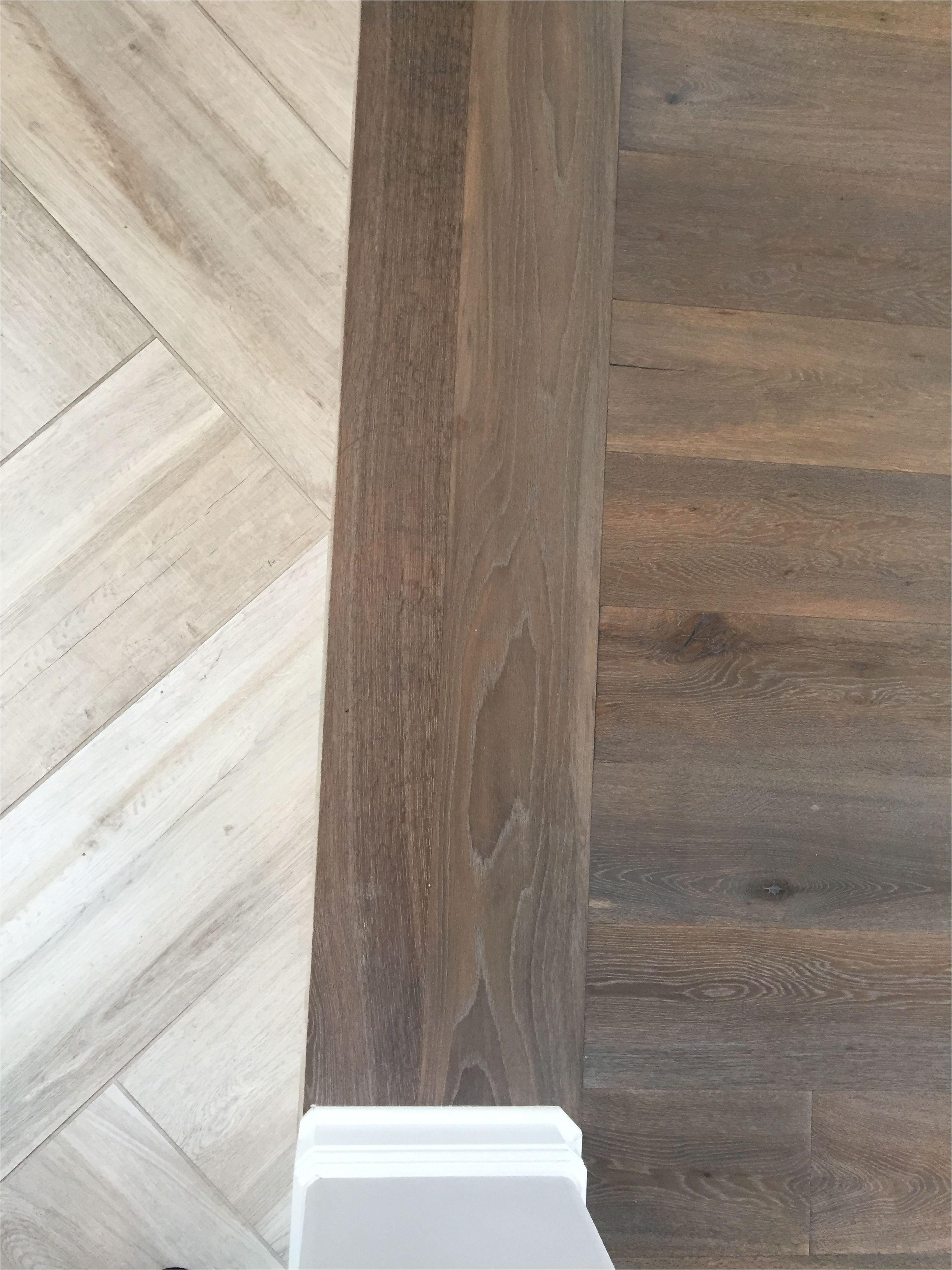 Waterproof Stick Down Flooring Floor Transition Laminate to Herringbone Tile Pattern Model
