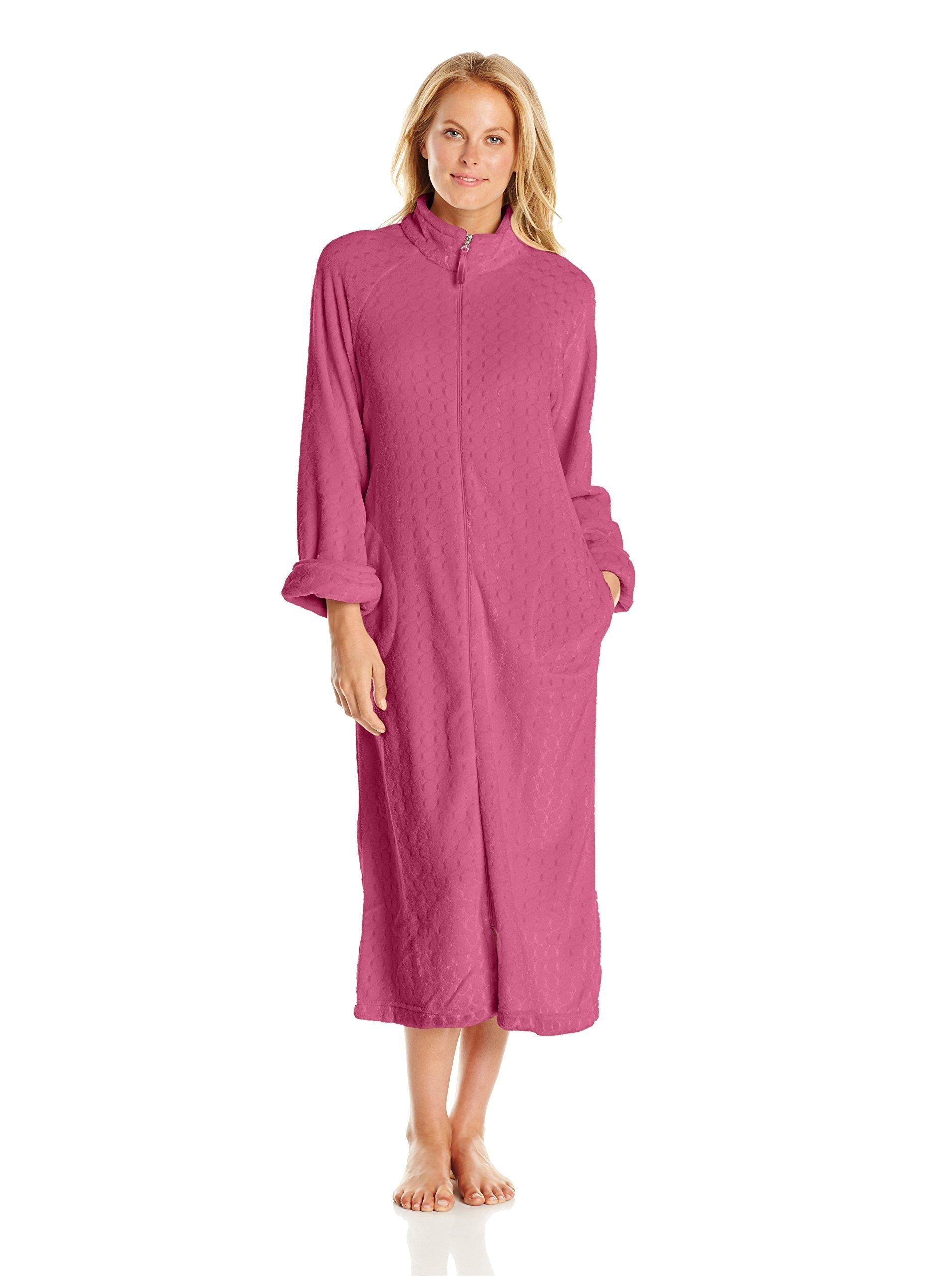 Womens Floor Length Robes Casual Moments Women S Textured Fleece Zip Up Robe Amazon Com