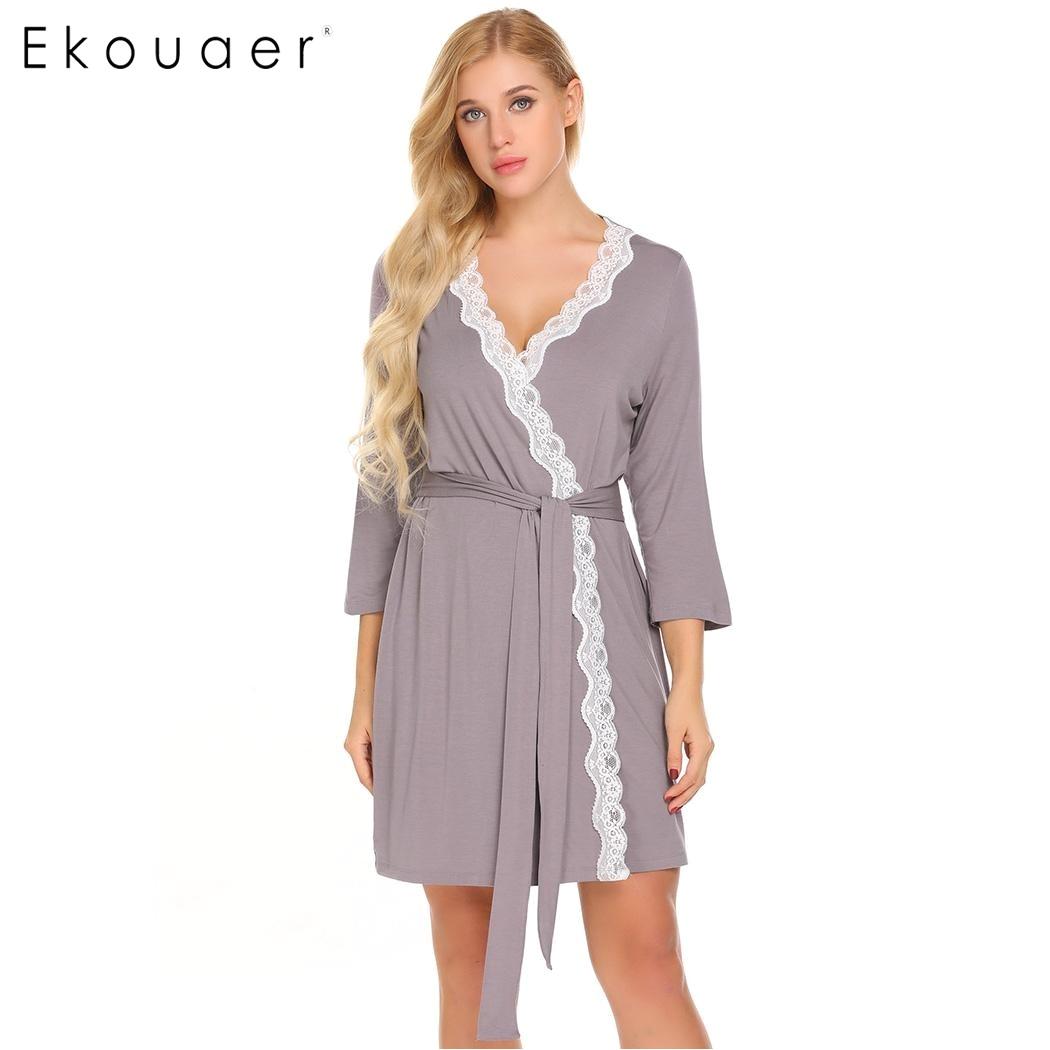 Womens Floor Length Robes Ekouaer Women Robe Long Sleeve V Neck Lace Trimmed Nighties Belt