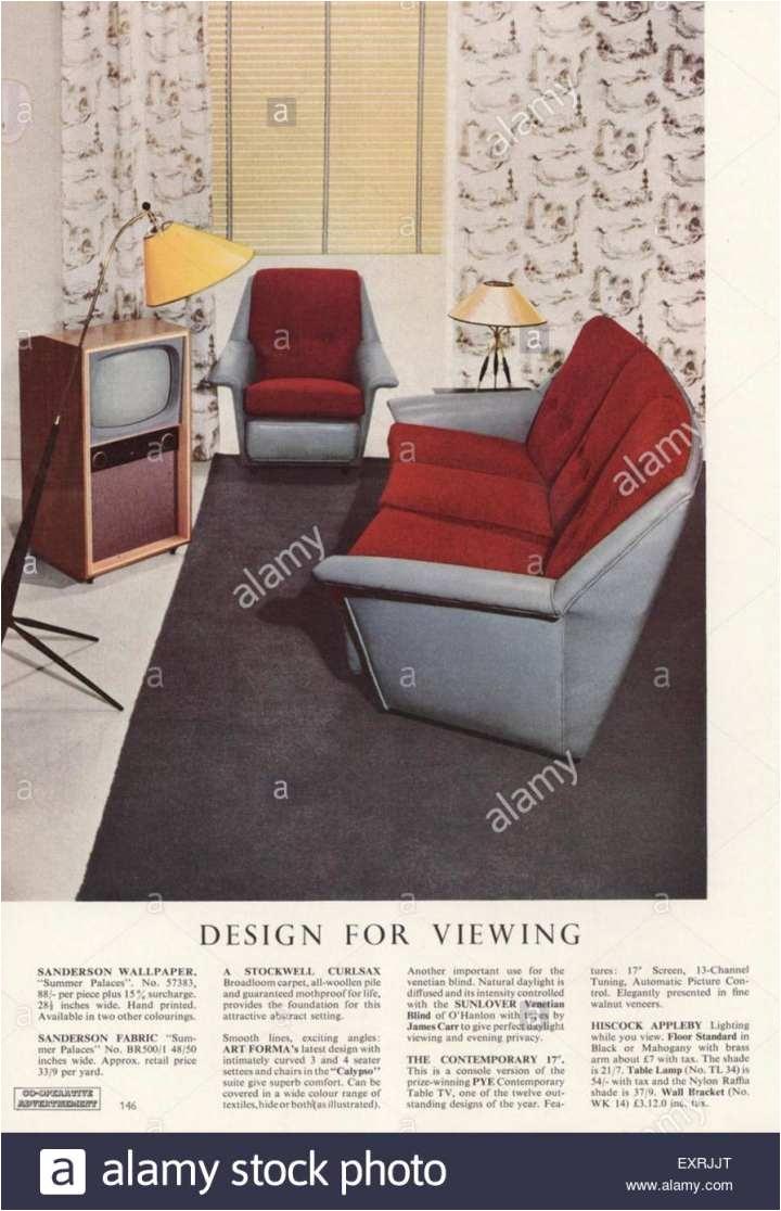 1950er jahre uk design fa¼r das magazin anzeige anzeigen stockbild