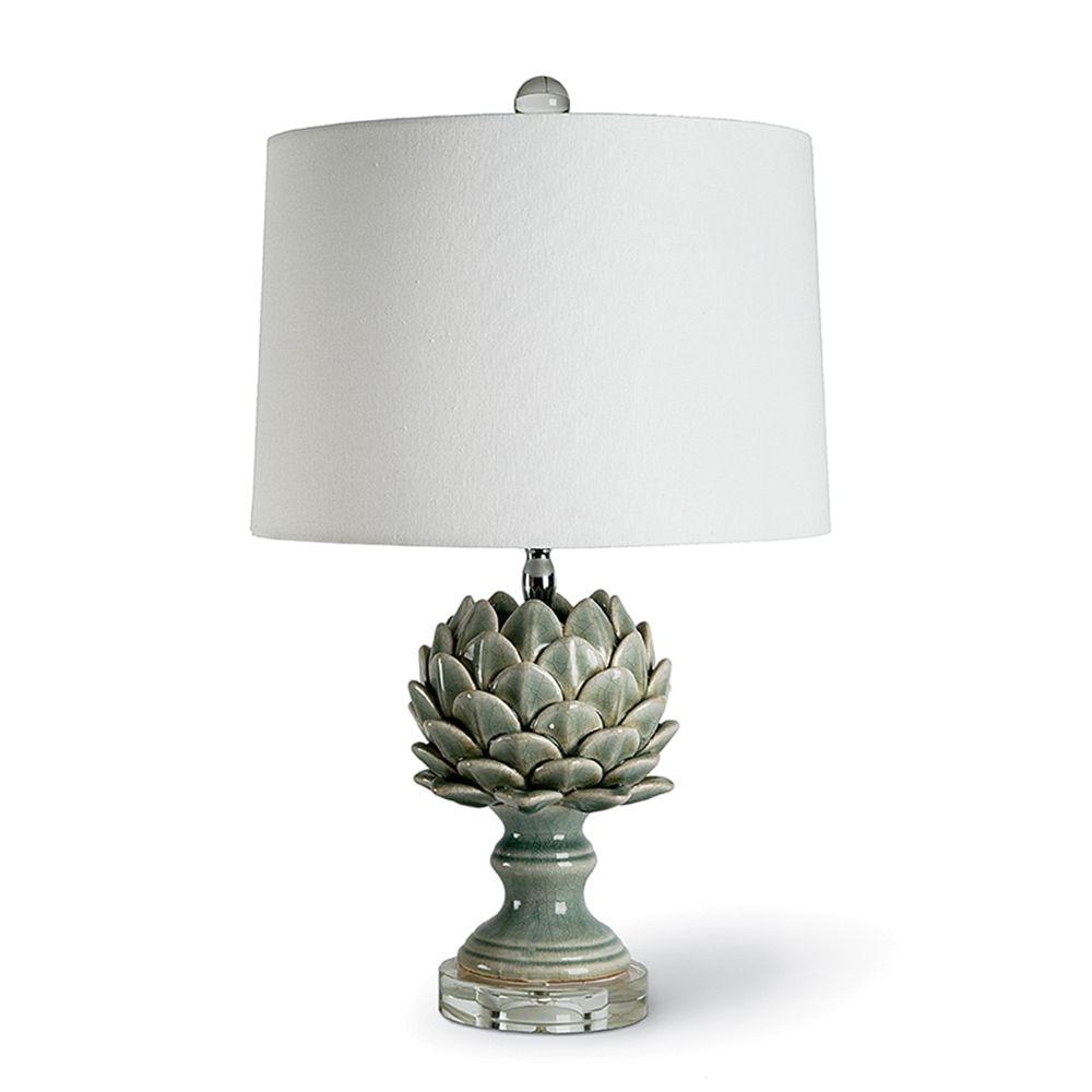 Regina andrew Furniture Regina andrew Home Ceramic Leafy Artichoke Lamp Grey Blue 44 8907
