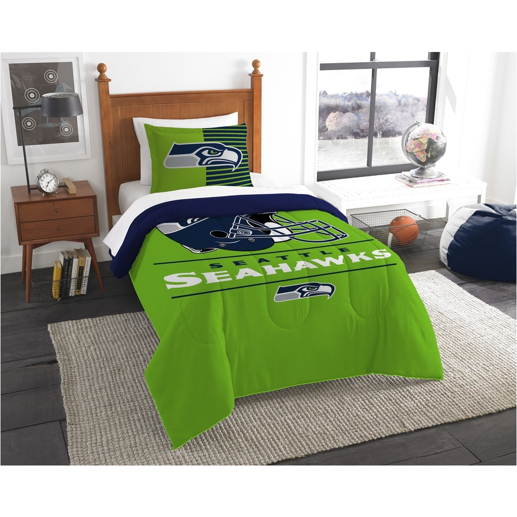 shop the northwest company nfl seattle seahawks draft green blue and white twin 2 piece comforter set free shipping today overstock com 13329767