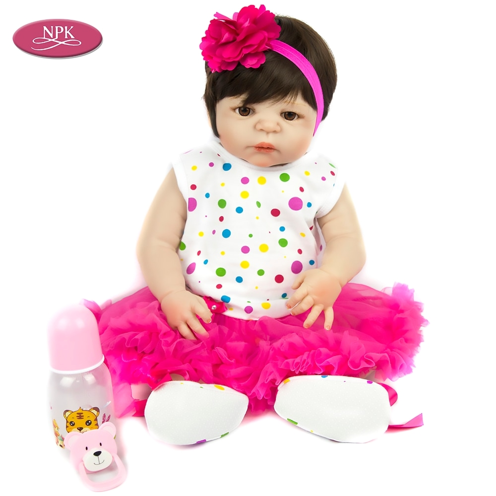 npk 57cm full body silicone reborn baby doll girl bath toys soft vinyl fashion dolls lifelike babies boneca bebe reborn menina in dolls from toys hobbies