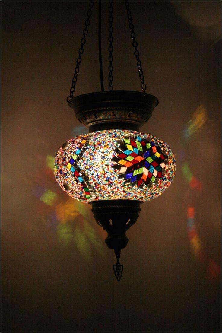 bohemian decor multicolour handmade turkish mosaic glass hanging lantern lamp pendant