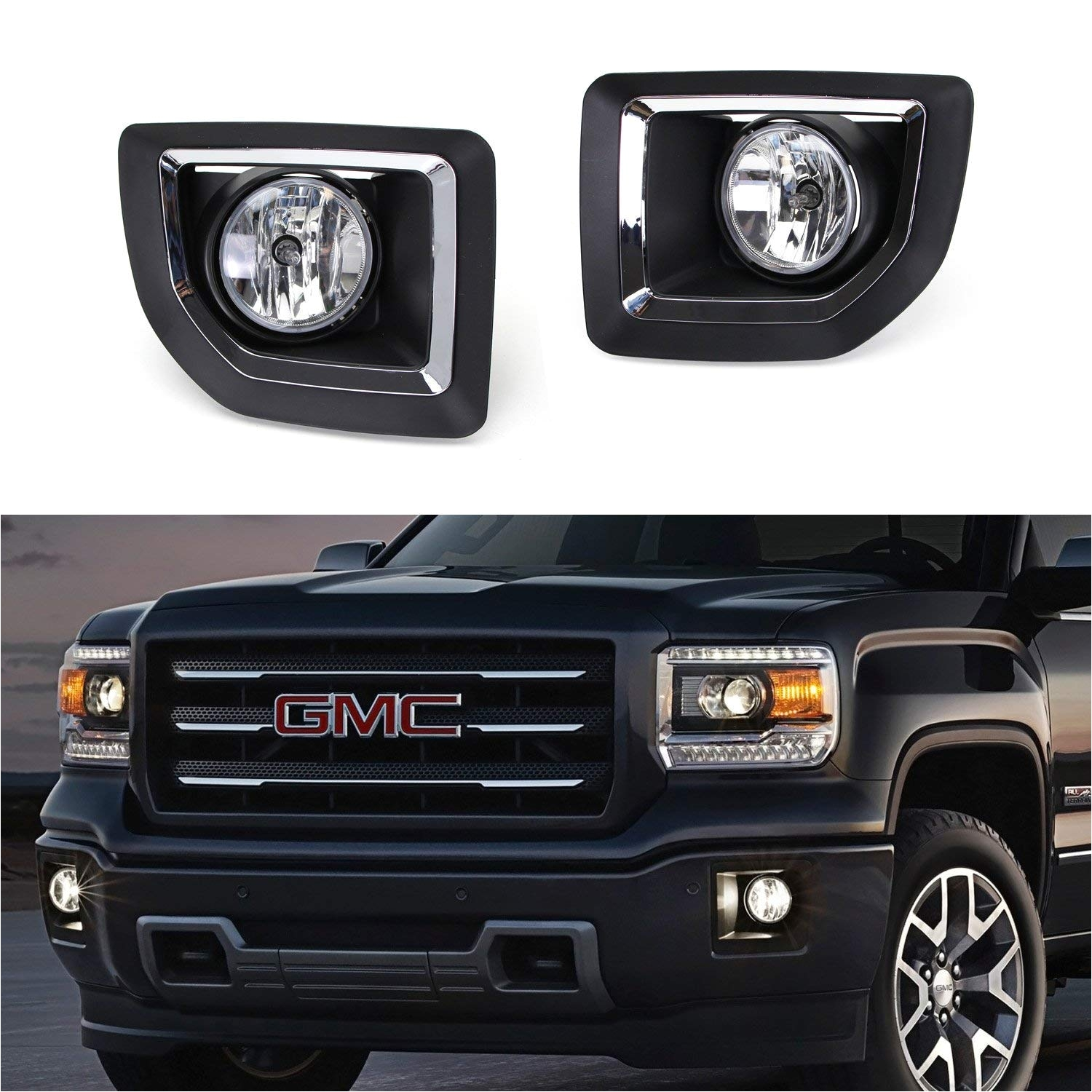 amazon com ijdmtoy complete set fog lights foglamp kit with halogen bulbs wiring on off switch and black garnish bezel covers brackets for 2015 2018 gmc