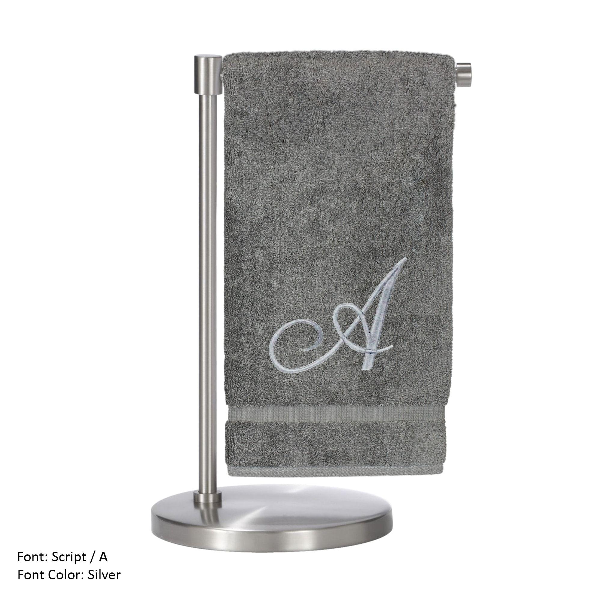 silver script monogrammed turkish 27x54 inch bath towel