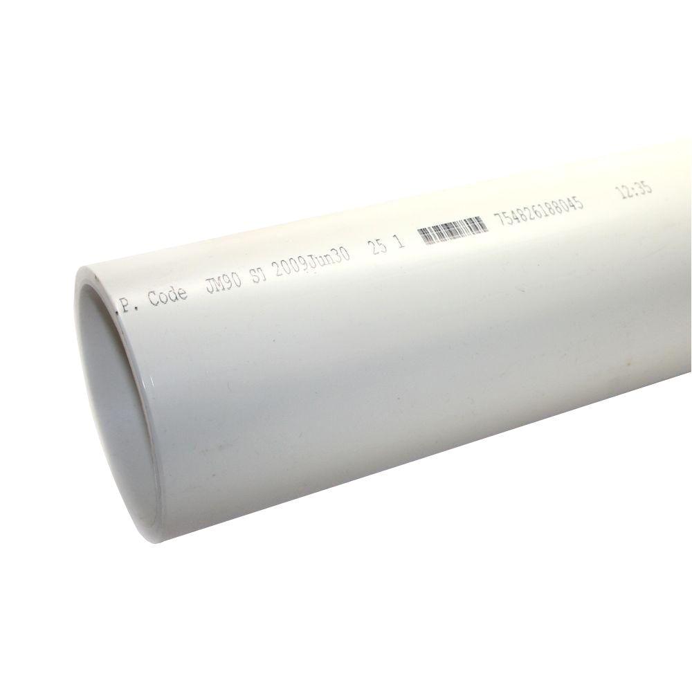 4 in x 10 ft pvc sch 40 dwv plain end pipe