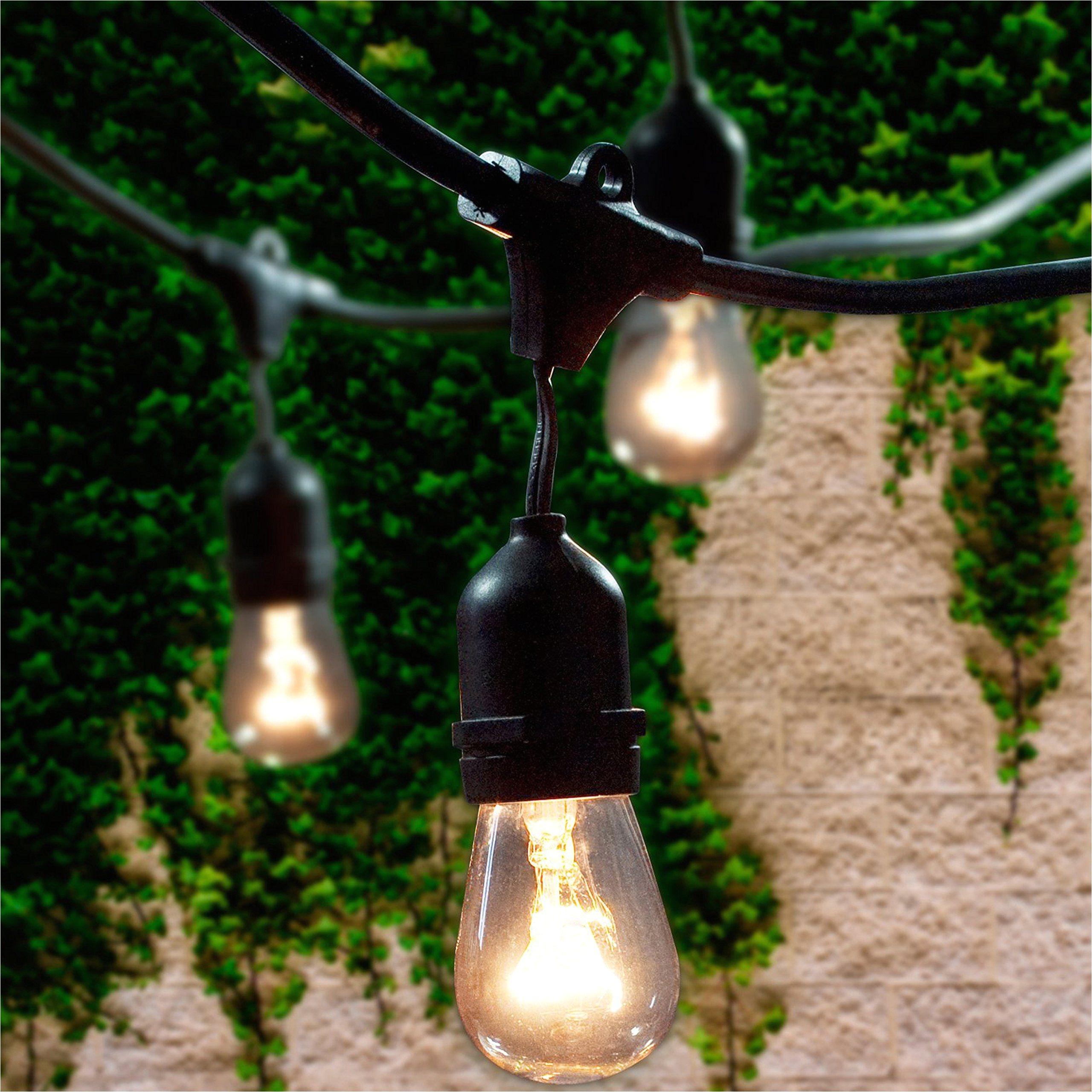 lemontec commercial grade outdoor string lights with 15 hanging sockets 48 ft black weatherproof cord