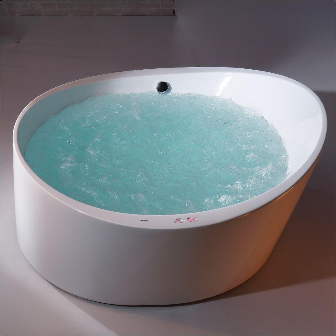eago am2130 66 inch round free standing acrylic air bubble bathtub acrylic