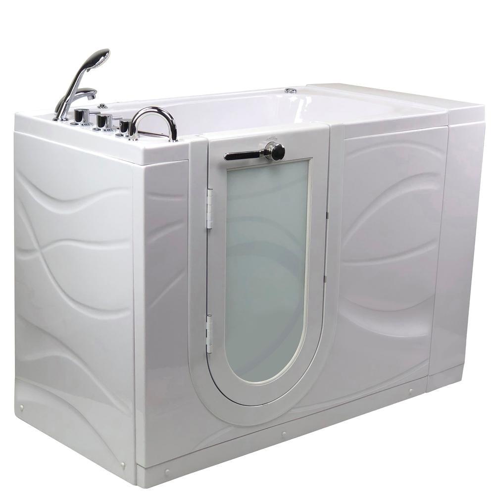 ella zen 52 in acrylic walk in whirlpool bathtub in white with left outward swing door faucet set and lhs 2 in dual drain dualwhirlpoolbathtub