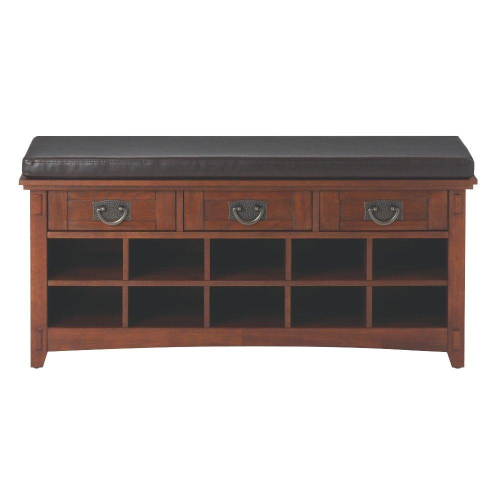 home decorators collection artisan 3 drawer medium oak shoe storage bench