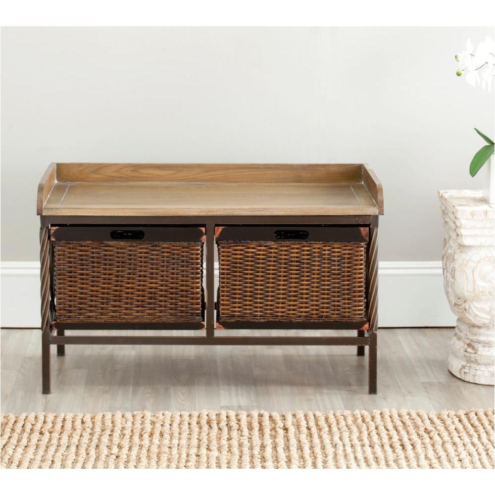 safavieh noah antique pewter storage bench