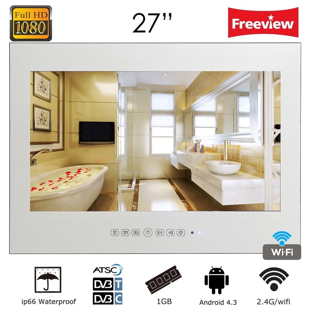 aliexpress com buy souria 27 frameless smart hd bathtub shower monitor tv magic mirror vanishing waterproof wifi bathroom led tv from reliable smart led