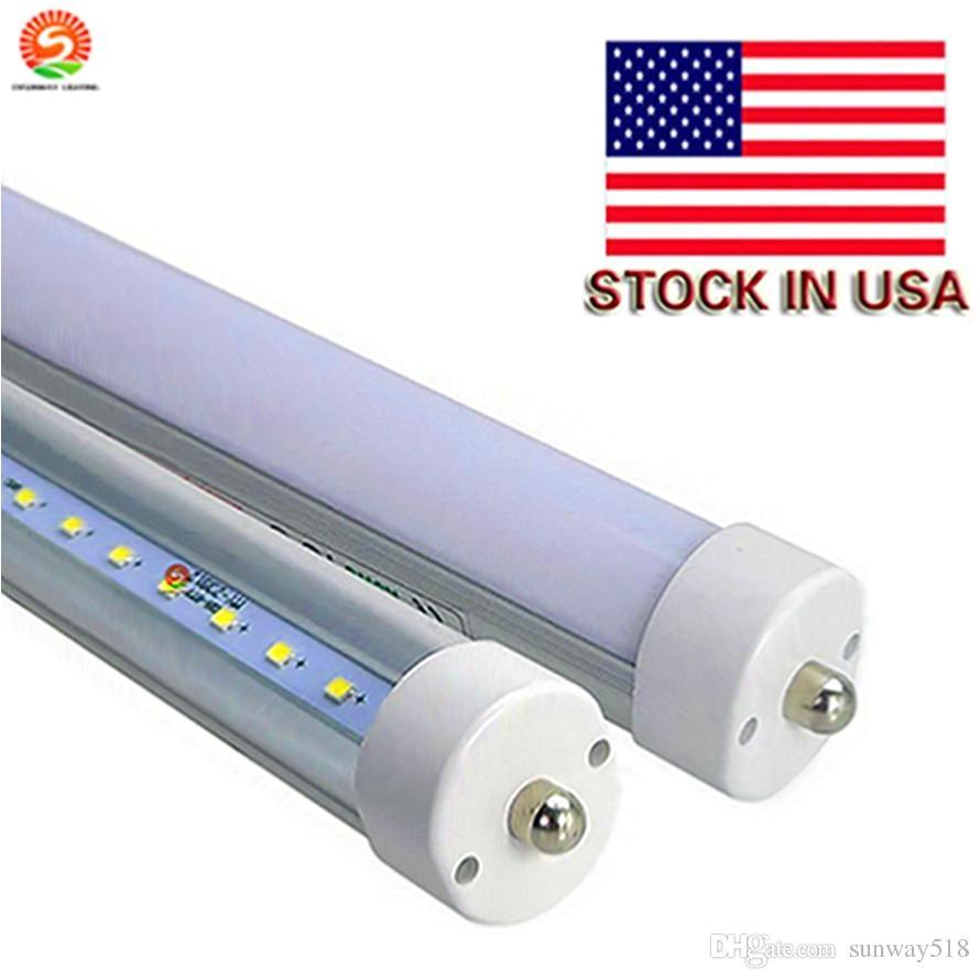 stock in us 8 feet led 8ft single pin t8 fa8 single pin led tube lights 48w 4800lm led fluorescent tube led tube replacement led tube dmx from sunway518