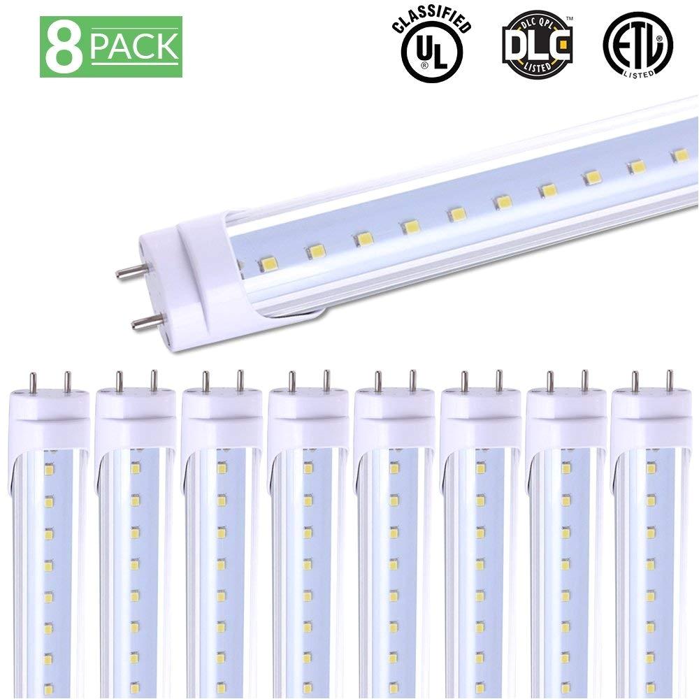 sunco lighting 8 pack t8 led tube light 4ft 48 18w 5000k daylight 2 000 lumens bypass ballast fluorescent replacement light lamp ul dlc