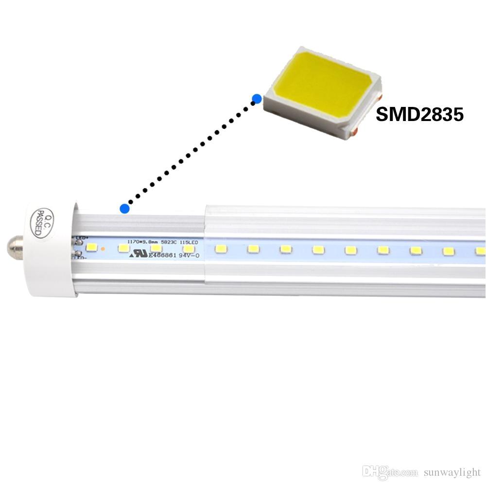 stock in us 8 feet led 8ft t8 fa8 single pin led tube lights 45w led fluorescent tube lamps ac100 240v 6000k cold white