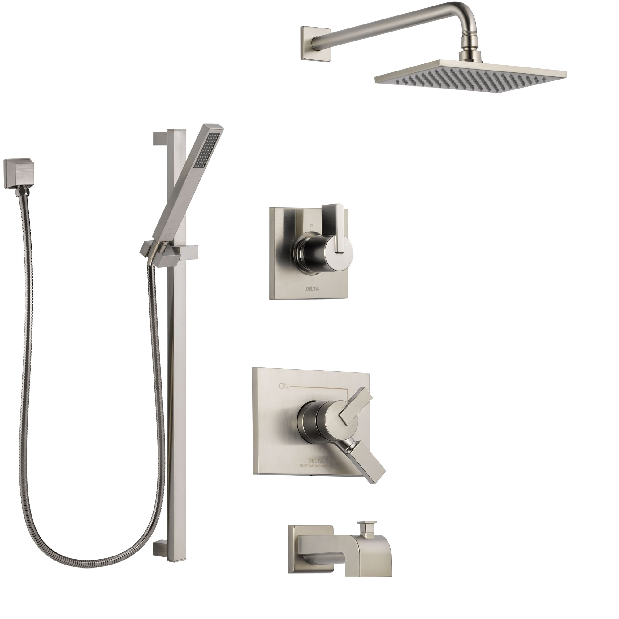 delta vero stainless steel finish tub and shower system with dual control handle diverter showerhead and hand shower with slidebar ss174531ss4