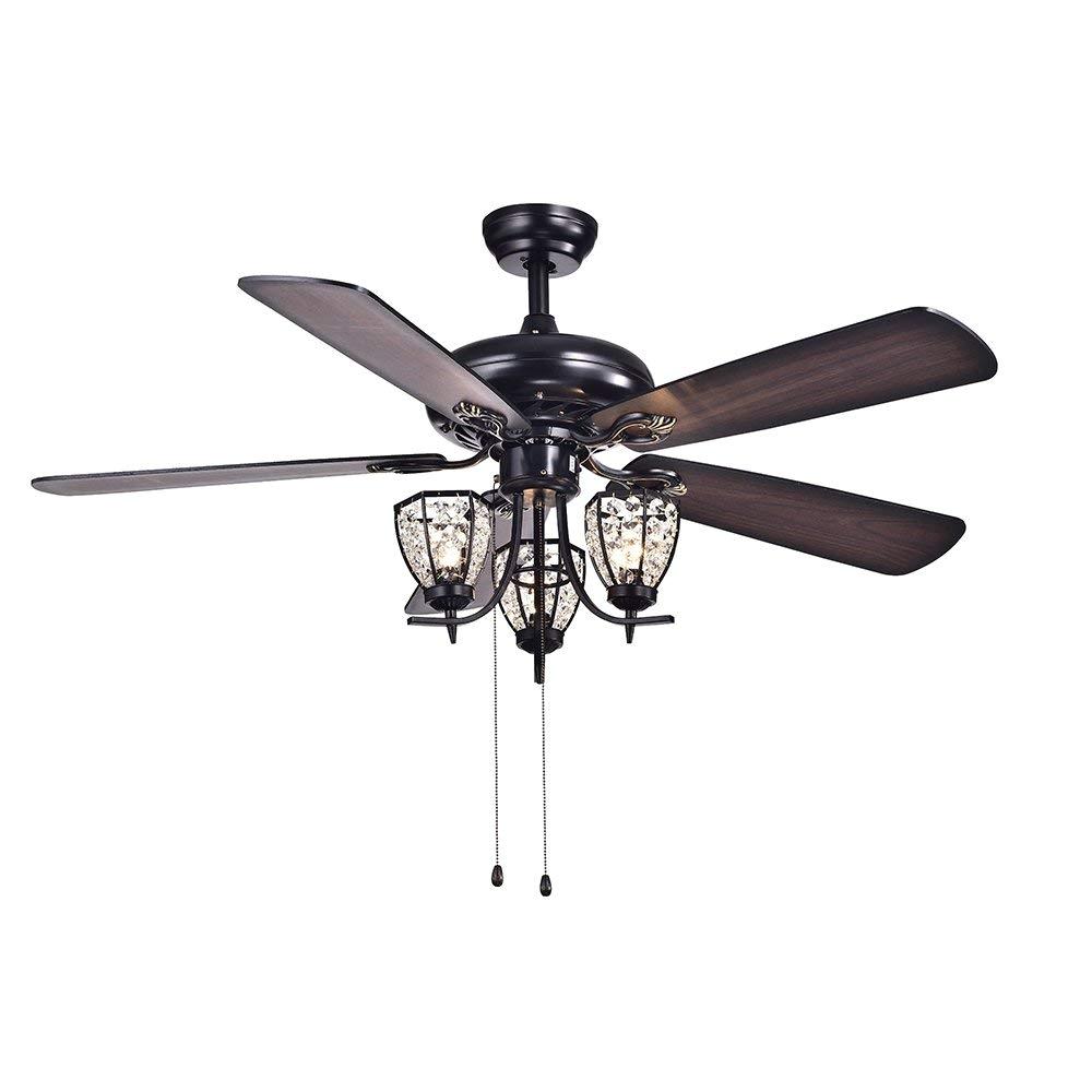 warehouse of tiffany cfl 8166bl mirabelle black 52 inch 3 light ceiling fan amazon com