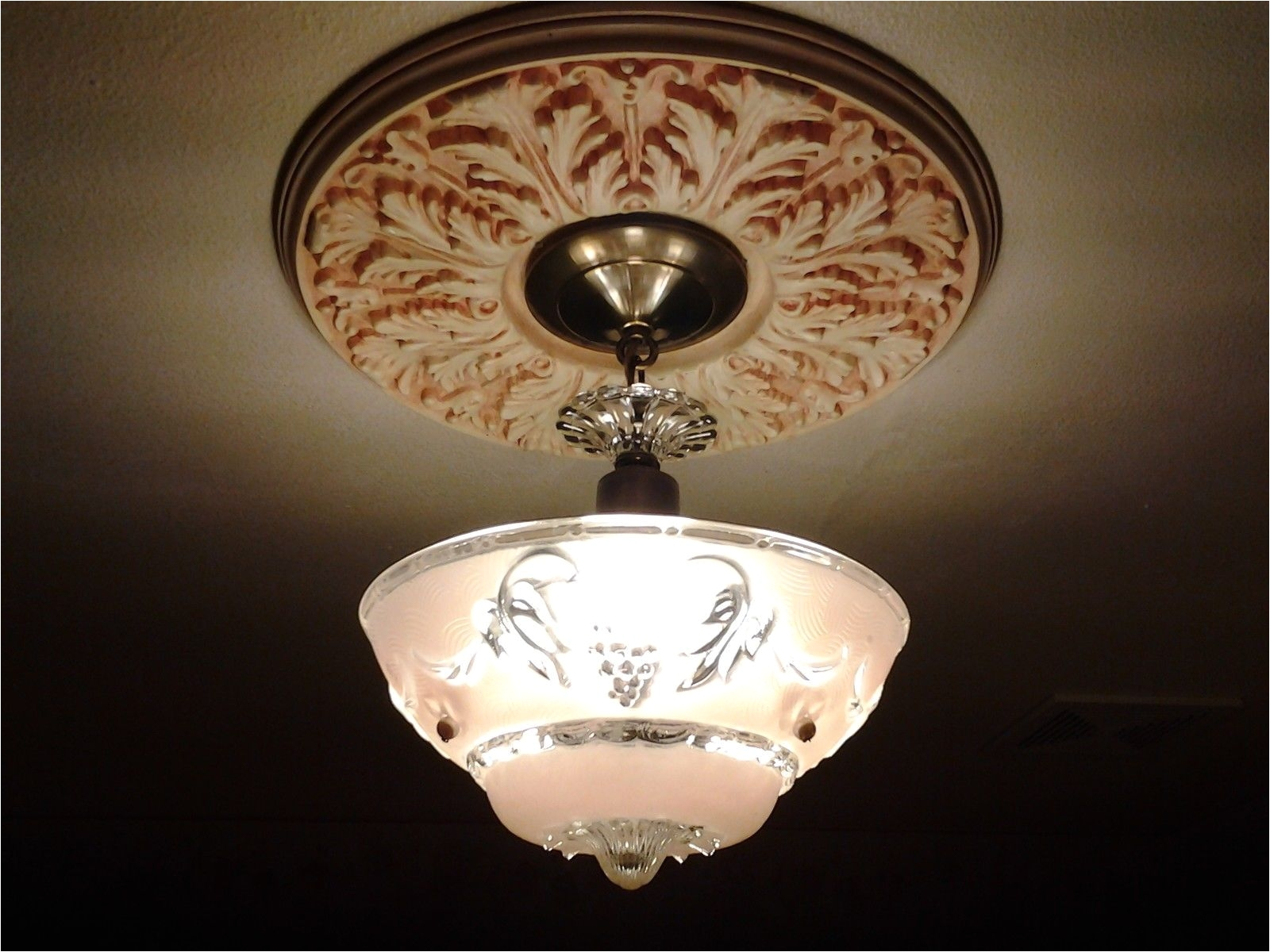 restored 1920s vintage art deco pink glass flush mount light fixture chandelier ebay