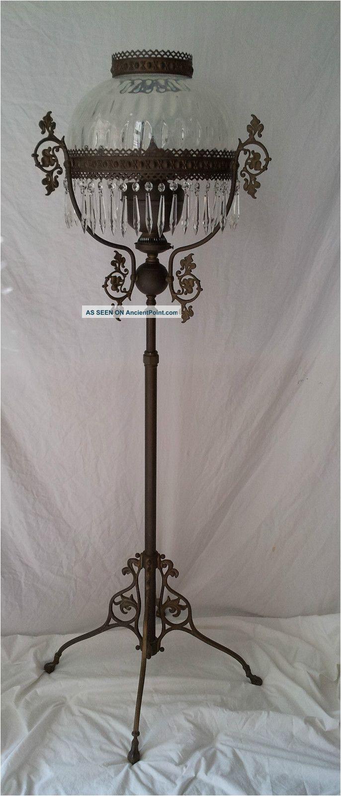 antique victorian style kerosene oil floor lamp brass john scott made in england